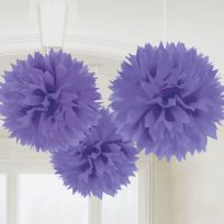 Purple Fluffy Pom Poms Decorations (3)
